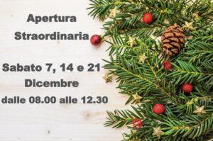 Aperture Straordinarie per il mese di Dicembre…